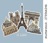 Set Of Paris Landmarks  Vector...