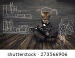 child little boy in glasses... | Shutterstock . vector #273566906