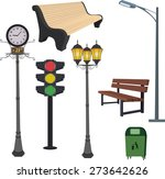 city objects  dustbin  lamppost ... | Shutterstock . vector #273642626