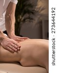 masseur massaging naked woman... | Shutterstock . vector #273644192