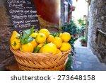 Wicker Basket Full Of Lemons On ...