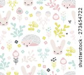 Seamless Spring Animals And...