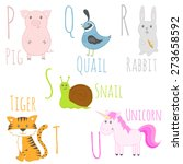 cute zoo alphabet in vector. p  ... | Shutterstock .eps vector #273658592