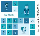 happy mothers day simple flat... | Shutterstock . vector #273666926