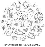 set of cartoon forest animals... | Shutterstock .eps vector #273666962
