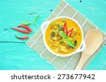 green curry with chicken in...   Shutterstock . vector #273677942