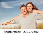 smiling couple flying  on... | Shutterstock . vector #273679502