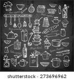 big set of kitchen utensils... | Shutterstock .eps vector #273696962
