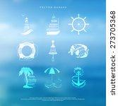 vector set of badges in marine... | Shutterstock .eps vector #273705368