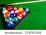billiard balls on green table... | Shutterstock . vector #273707102