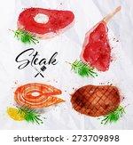 set steak of watercolor hand... | Shutterstock .eps vector #273709898
