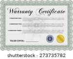 green warranty certificate   Shutterstock .eps vector #273735782