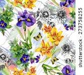 Stock vector garden lily iris african violet saintpaulia flowers watercolor seamless pattern with butterflies 273758255