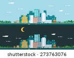 day and night urban landscape... | Shutterstock .eps vector #273763076