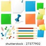notes  pencils  pins vector | Shutterstock .eps vector #27377902
