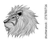 Zentangle Stylized Lion Face....