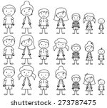 set of cute and diverse stick... | Shutterstock .eps vector #273787475