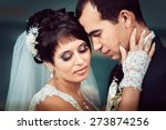 young couple kissing in wedding ... | Shutterstock . vector #273874256