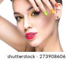 beautiful model girl with... | Shutterstock . vector #273908606