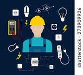 professional electrician... | Shutterstock .eps vector #273909926