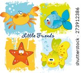 Vector Funny Fishes Crab And...