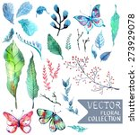 watercolor flowers collection... | Shutterstock .eps vector #273929078