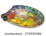 Palette With Oil Paints On A...
