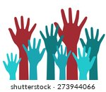 vector hands up. colorful...   Shutterstock .eps vector #273944066