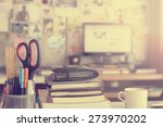 stationery focused on pen in... | Shutterstock . vector #273970202