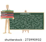 Small photo of Mannequin school books: Stereotype Chalkboard on Easel (Nerd, Cutter, Metrosexual, Wall Flower, Geek, Pothead, Snob, Thug, Ghetto, Outcast, Acid Head, Social Deviant, Tranny, Artsy, Skater)