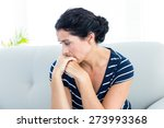 unhappy woman sitting on the... | Shutterstock . vector #273993368
