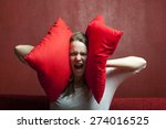 young woman with cushions  | Shutterstock . vector #274016525