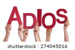 Small photo of Many Caucasian People And Hands Holding Red Letters Or Characters Building The Isolated Spanish Word Adios Which Means Goodbye On White Background