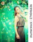 beautiful young woman  among... | Shutterstock . vector #274046636