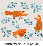 fox in blueberries vector | Shutterstock .eps vector #274066286