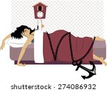 tired woman lying in her bed... | Shutterstock .eps vector #274086932