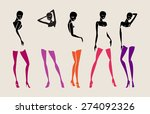 sexy girl set stockings hands... | Shutterstock .eps vector #274092326