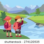 river  meadow and beautiful... | Shutterstock .eps vector #274120535