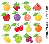 retro stylized fruit icons with ... | Shutterstock .eps vector #27416185