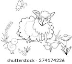 coloring with sheep | Shutterstock . vector #274174226