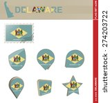 delaware flag set  us state ... | Shutterstock .eps vector #274203722