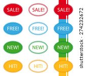 stickers sale free new hit label | Shutterstock .eps vector #274232672