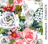 white roses pattern watercolor | Shutterstock . vector #274260176