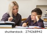 schoolboy studying with the... | Shutterstock . vector #274268942