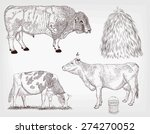 cow set of two cows and bull on ... | Shutterstock .eps vector #274270052