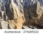 Closeup Of Pancake Rocks In...