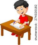 Cartoon Little Boy Writing