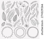 Vector Hand Drawn Leaves Set....