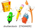 cartoon collection of stationery | Shutterstock . vector #274344092