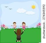 kids playing with mother in... | Shutterstock .eps vector #274345592